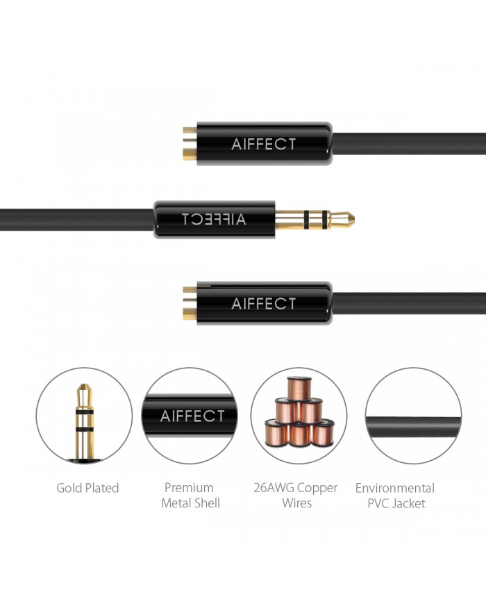 AIFFECT 3.5mm Aux Audio Stereo Y Splitter Cable for iPhone, iPad, Smartphones, Tablets, and Other Media Players - Black