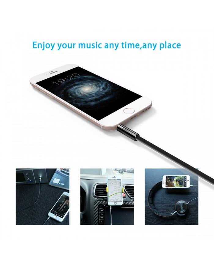 AIFFECT 3.5mm Premium Auxiliary Audio Cable, 3.3 ft Male to Male Aux Cable for Samsung Galaxy, iPhone, iPod, Nexus and More - Black