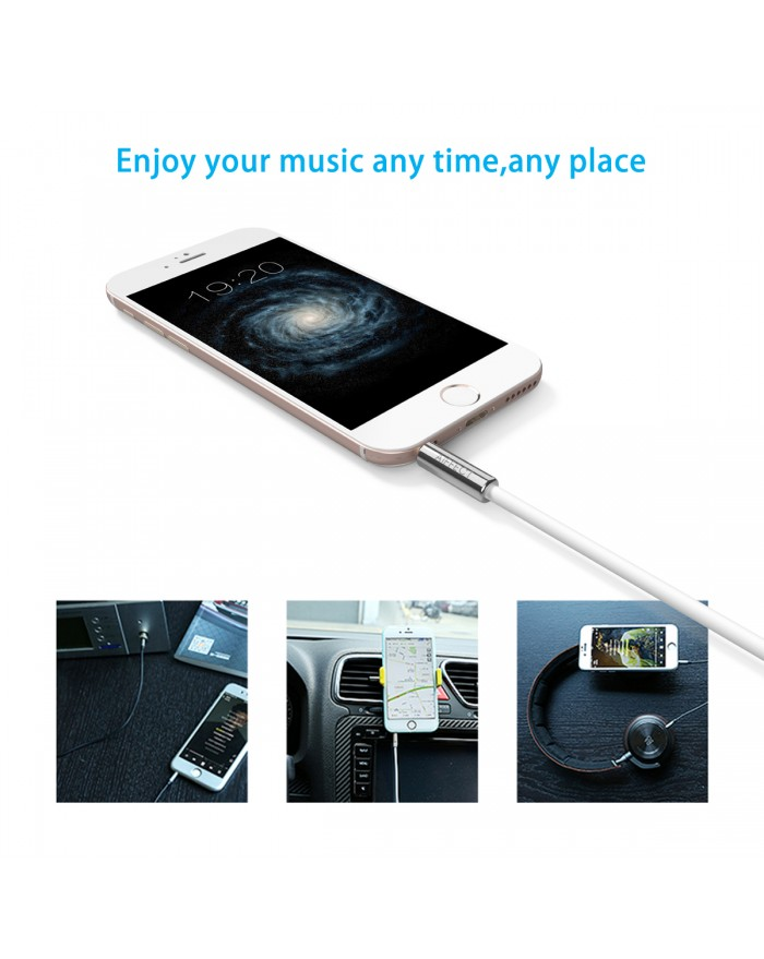 AIFFECT 3.5mm Premium Auxiliary Audio Cable, 3.3 ft Male to Male Aux Cable for Samsung Galaxy, iPhone, iPod, Nexus and More - Silver