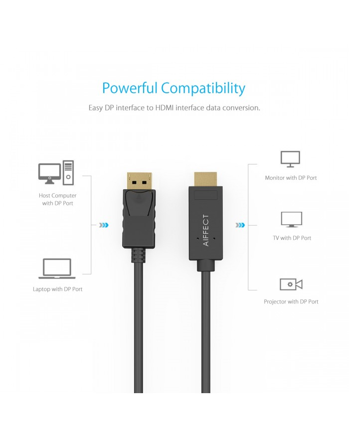 AIFFECT 6Ft Gold Plated DisplayPort to HDMI Cable 4K - Black