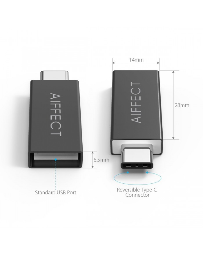 AIFFECT 2 Pack USB OTG Adapter Wireless Type C Converter - Black