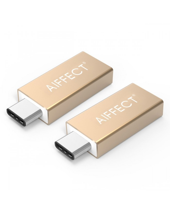 "AIFFECT 2 Pack Type C Male to USB 3.0 Type A Female Adapter OTG Converter for Apple MacBook 12"", Chromebook Pixel, Nexus 6P, Nexus 5X, and More - Gold"