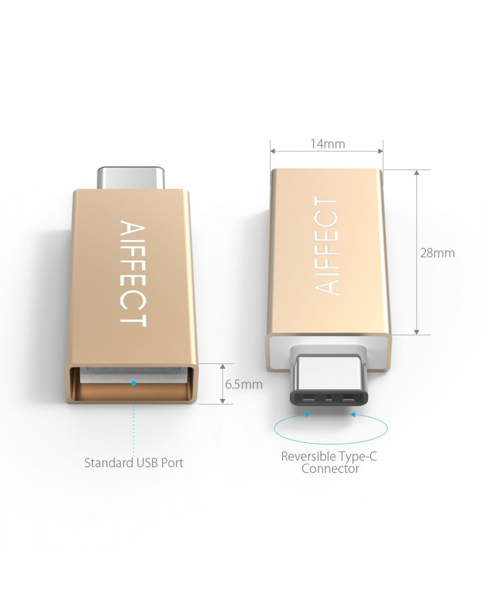 """AIFFECT 3 Pack Type C Male to USB 3.0 Type A Female Adapter OTG Converter for Apple MacBook 12"""", Chromebook Pixel, Nexus 6P, Nexus 5X, and More - Gold"""