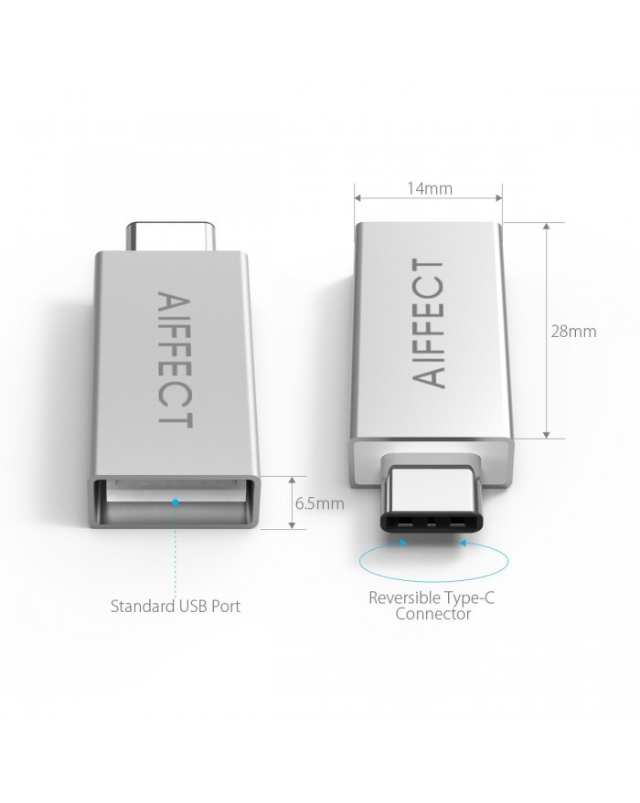 "AIFFECT 3 Pack Type C Male to USB 3.0 Type A Female Adapter OTG Converter for Apple MacBook 12"", Chromebook Pixel, Nexus 6P, Nexus 5X, and More - Silver"