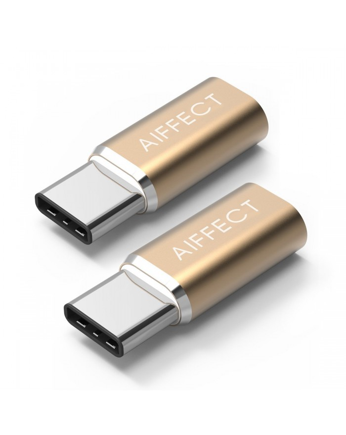 "AIFFECT 2 Pack USB C to Micro USB Adapter, Type C to Micro USB Converter for MacBook 12"", Chromebook Pixel, Nexus 6P, Nexus 5X, Lumia950X, and More - Gold"