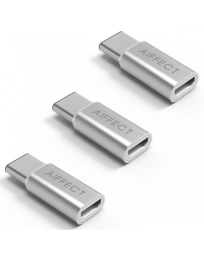 "AIFFECT 3 Pack USB C to Micro USB Adapter, Type C to Micro USB Converter for MacBook 12"", Chromebook Pixel, Nexus 6P, Nexus 5X, Lumia950X, and More - Silver"