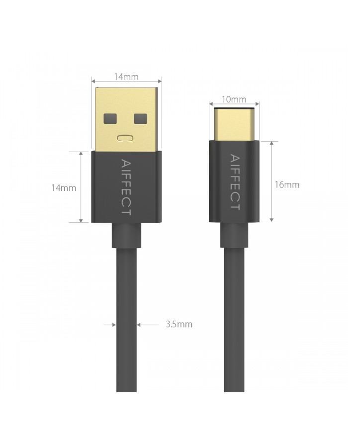 AIFFECT 2 Pack 5ft USB Charging Cable - Black