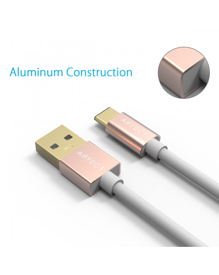 AIFFECT 2 Pack 5ft USB Charging Cable - Rose Gold