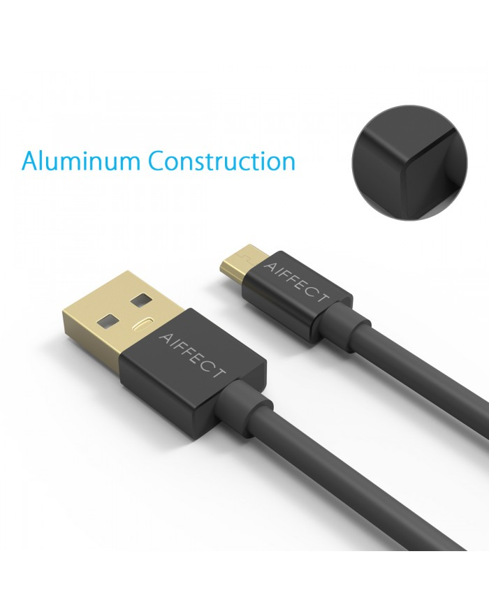 AIFFECT Micro USB 2 Pack Android Charging Cable 5Ft - Black