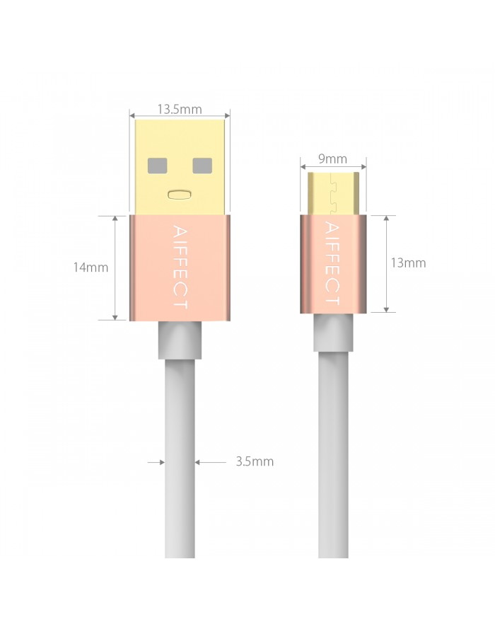 AIFFECT 3 Pack Micro USB Charging Cable for Samsung, HTC, Motorola, Nokia, Android, and More 5Ft - Rose Gold