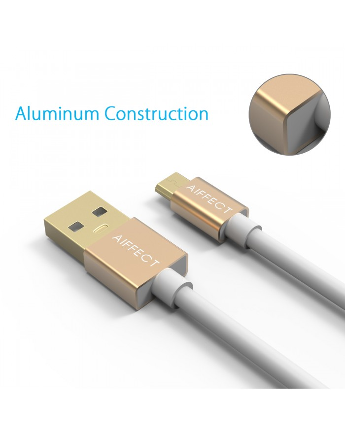 AIFFECT 2 Pack High Speed Micro USB 2.0 Cable Sync Data and Charging Cord for Samsung, HTC, Motorola, Nokia, Android, and More - Gold