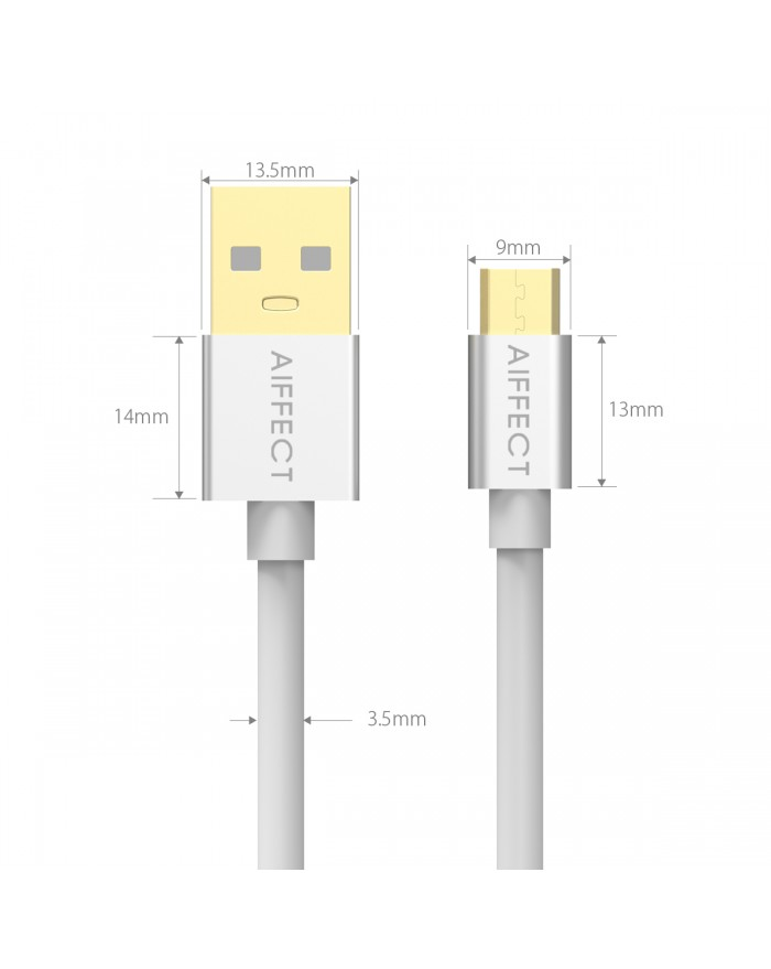 AIFFECT 2 Pack 5Ft High Speed Micro B USB 2.0 Cable Sync Data and Charging Cord for Samsung, HTC, Motorola, Nokia, Android, and More - Silver