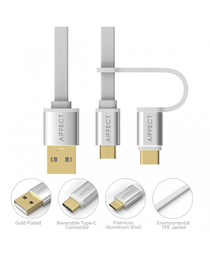 AIFFECT 2 Pack 3.3Ft 2 in 1 Duo Cable, Micro B to Type A Data & Charging USB Cable with Type C Adapter for Devices with Type C USB or Micro USB Port - Sliver
