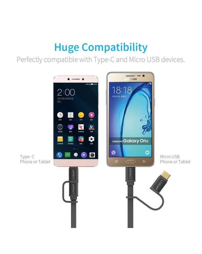 AIFFECT 2 Pack 3.3Ft Micro USB Cable 2 in 1 for Android and Type C Phones - Black