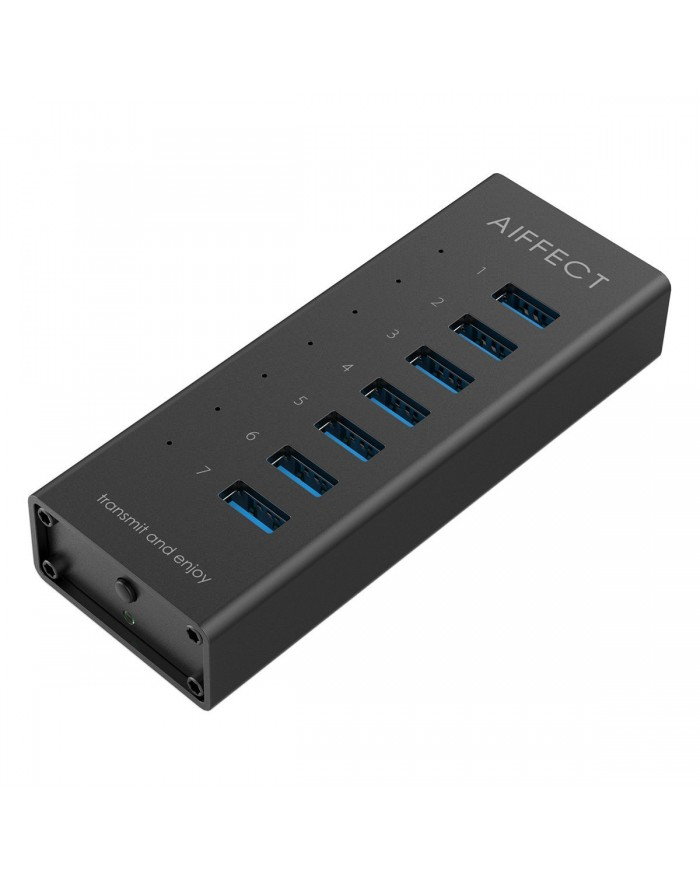AIFFECT 7 Port USB 3.0 SuperSpeed Charging Hub with Power Adapter, BC 1.2 Charging Support - Black