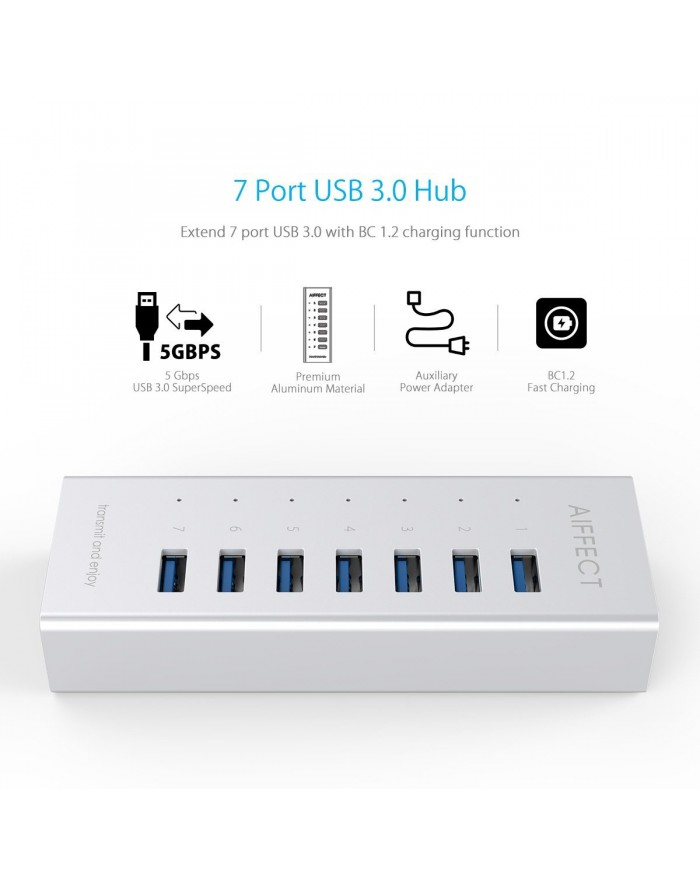 AIFFECT USB 3.0 Aluminum 7-Port Hub with BC 1.2 Charging Support and 3.3Ft USB Cable - Silver