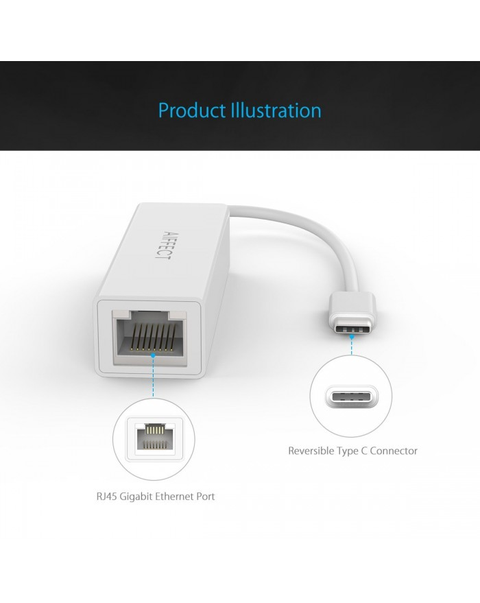 AIFFECT USB-C to Ethernet Aluminum Adapter for New MacBook 2016, ChromeBook Pixel and More - Silver