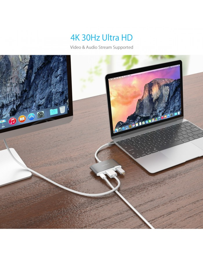 AIFFECT Type C to HDMI Adapter 4K, USB 3.0 Hub with DP Charging port for Apple MacBook, Chromebook Pixel and other Type C Devices - Silver