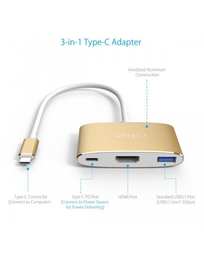 AIFFECT Type C to HDMI Adapter 4K, USB 3.0 Hub with PD Charging port for Apple Macbook, Chromebook Pixel and other Type C Devices - Gold