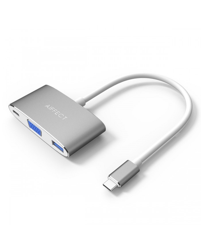 AIFFECT Type C to VGA Adapter, USB 3.0 Hub with PD Charging port for Apple Macbook, Chromebook Pixel and other Type C Devices - Gray